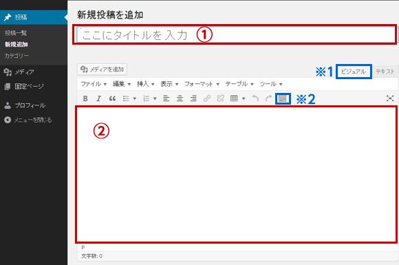 wordpressタイトルと記事を入力